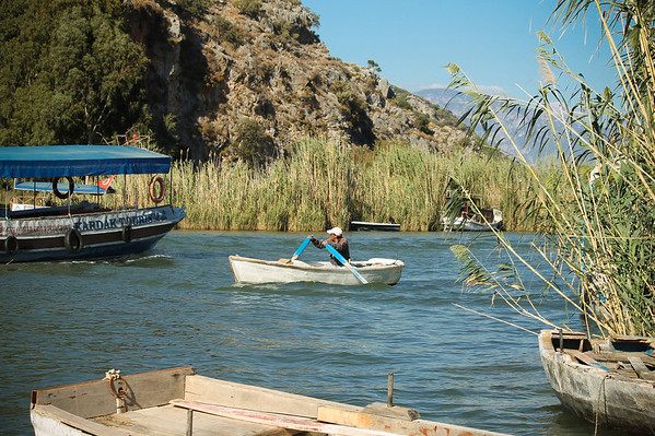 Tiny boats carry tourists from one side of the river to the next in Dalyan.