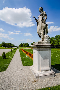 Many of the Nymphenburg Palace Garden statues were added in the 18th century.
