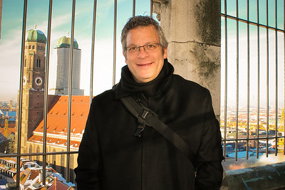 Jeff still manages a smile, even though it's freezing in the tower of the New Town Hall of Munich, Germany.