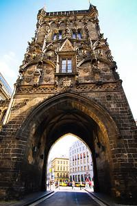 An original city gate of Prague, the Powder Gate.