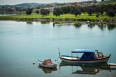 Boats on the calm waters of Cunda Island, near Ayvalık.