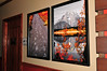 """Bear Tracks"" and ""Reflections on Jenny Lake"".  Artwork displayed at The Lazy Dog Cafe Restaurant, Valencia, CA. 12/2/09"