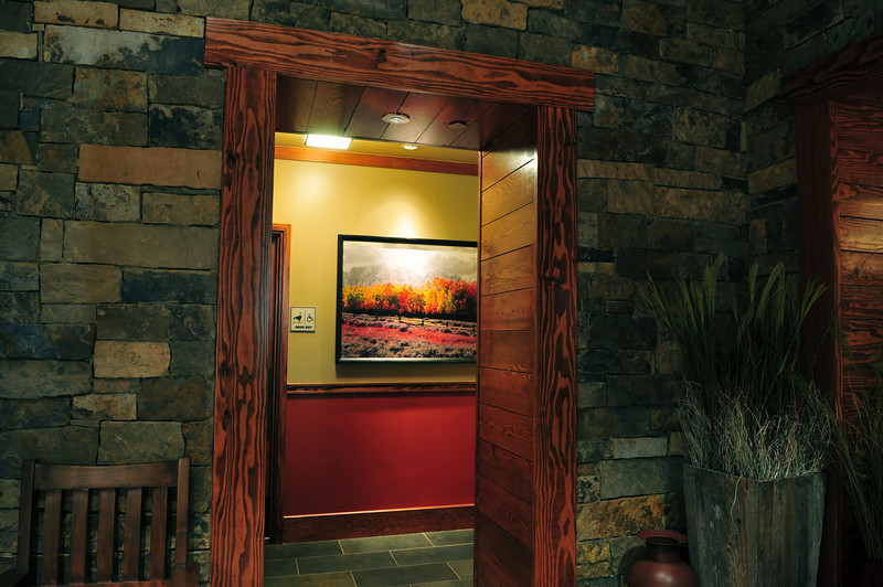 Artwork displayed in entry way of The Lazy Dog Cafe Restaurant, Valencia, CA location. 12/2/09