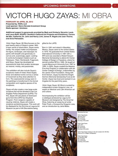 "LAGUNA ART MUSEUM  Announcement of the ""Mi Obra"" exhibit of the work of Victor Hugo Zayas."