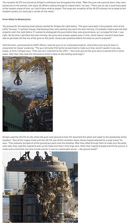Tamron's national newsletter December 2012, Page 2, featuring my images.