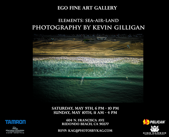 Please join me on May 9th and 10th at the Ego Fine Art Gallery in Redondo Beach CA for my solo show, Elements: Sea-Air-Land