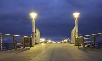 Blue hour image of Hermosa Pier, Hermosa Beach, California, just before sunrise.