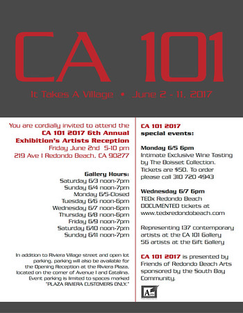 Pleased to announce my work has been selected for the 2017 CA 101 Exhibition in Redondo Beach, CA 6/3-6/11. Hope to see you there!