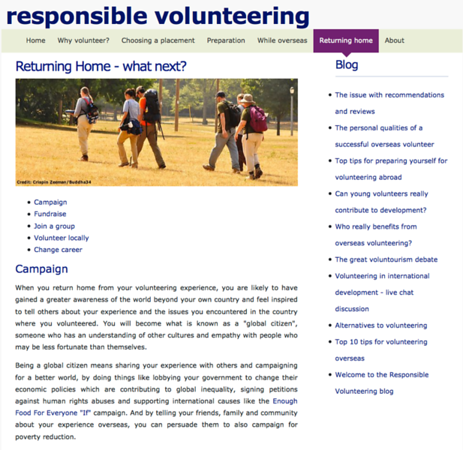 Responsible Volunteering - Travel Website