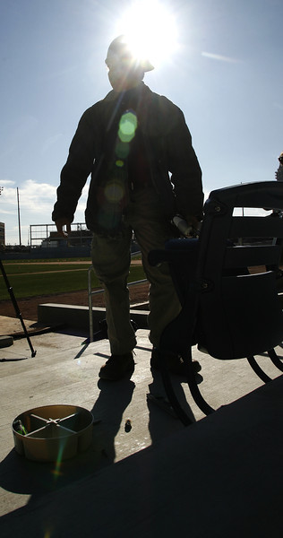 The first seat at ONEOK Field in Tulsa was installed by Melvin Zacaris in a ceremony Friday.