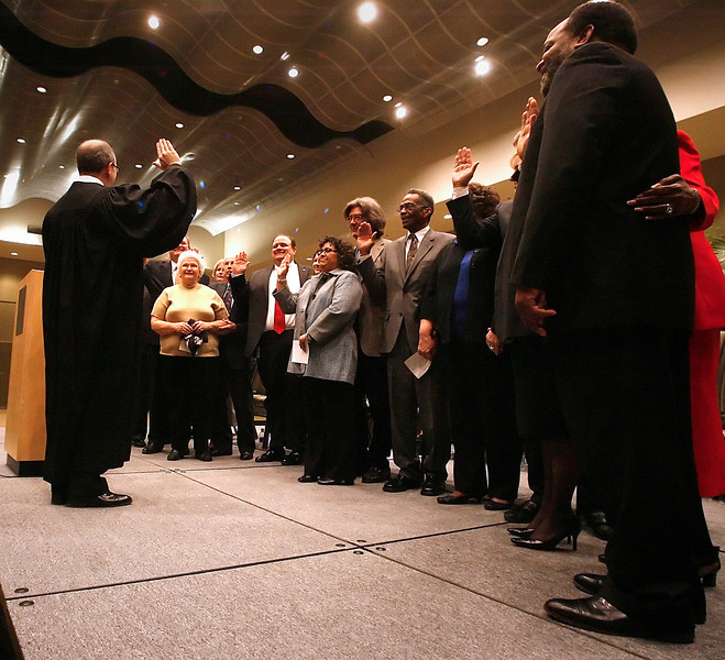 City council member are sworn into office at the Inauguration ceremonies held Monday afternoon in Tulsa.