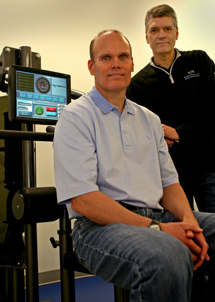 Senior VP Tony Linville and Bert Davidson President of Exerbotics at their Tulsa Gym.