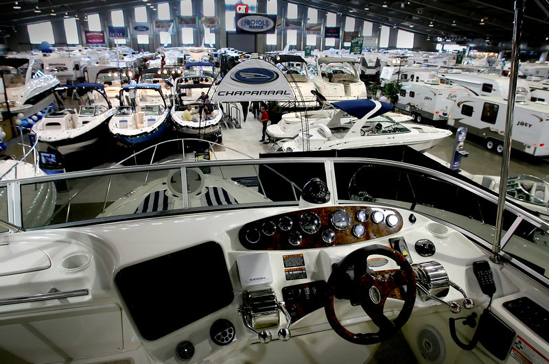 A view from the helm of a large boat on display at last weeks Tulsa Boat Show.