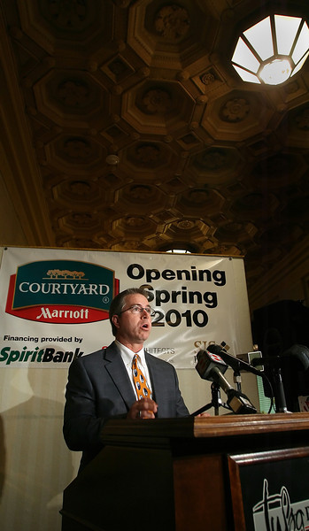 Jeff Hartman, Co-Owner of SJS Hospitality of Broken Arrow, announces a t a press conference that the renovation of the Atlas Life Building in Downtown Tulsa will be completed and the Courtyard Hotel by Marriott will be open by May 15th of 2010.