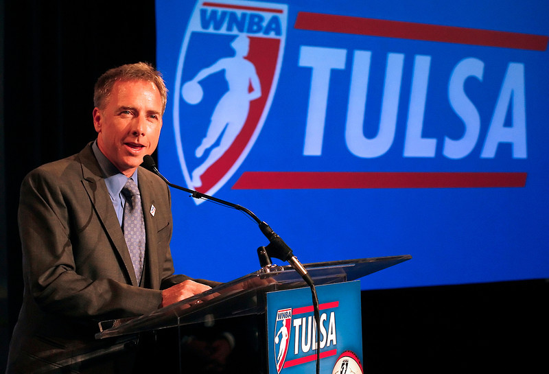David Box, a principle investor, help announce Tuesday that Tulsa has secured a WNBA womenís professional basketball team beginning the 2010 season.