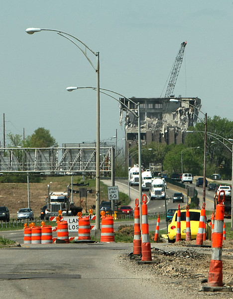 Another building falls to the wrecking ball to make way for the Interstate 44 widening project in Tulsa.