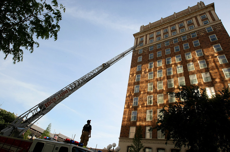 The Oklahoma City Fire Department is testing out a new ladder on the Skirvin Hotel downtown Wednesday. PHOTO BY MAIKE SABOLICH