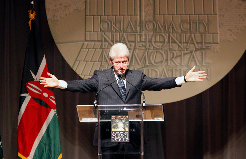 Former President Bill Clinton gestures during his acceptance speech as the recipient of the 2010 Reflections of Hope Award Wednesday April 21, 2010 at the National Cowboy and Western Heritage Museum.