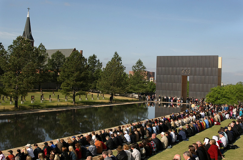 Crowds gathered Monday morning the 15th Anniversary Rememberance Ceremony at the Oklahoma City National Memorial. PHOTO BY MAIKE SABOLICH