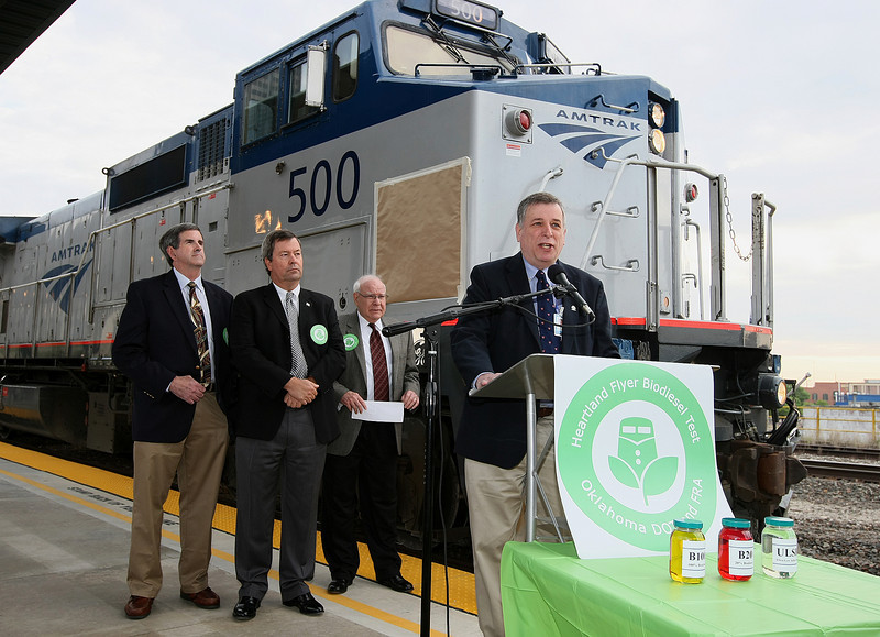 Roy Deichman, Amtrak vice president for environmental, health and safety, discusses the biodiesel trest for the Heartland Flyer Amtrak train Tuesday morning at a press conference. PHOTO BY MAIKE SABOLICH