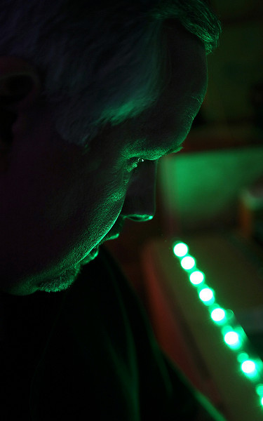 Buddy Stefanoff, VP of Engineering of Crossroads LED's in Collinsville, works on a LED light bar.