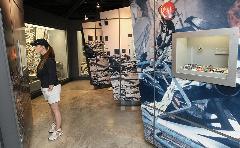 Sherri Watson looks at exhibits at the Oklahoma City Memorial Museum. PHOTO BY MAIKE SABOLICH