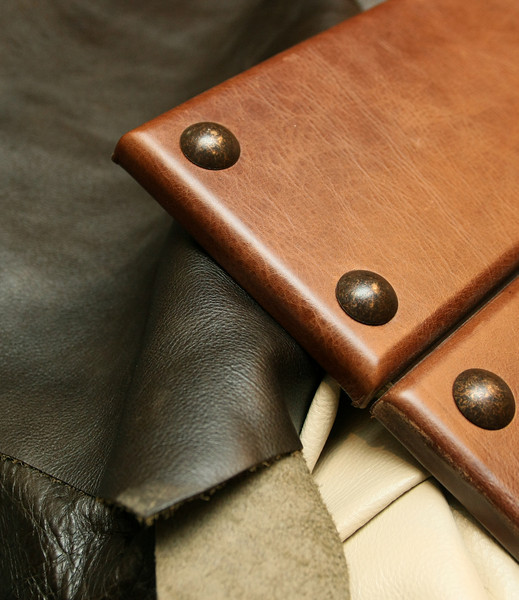 Leather hide samples and a leather door panel, a signature item at A Karen Black Company. PHOTO BY MAIKE SABOLICH