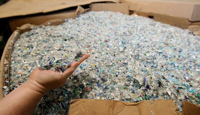 Shredded plastic at Red Earth Recycling. PHOTO BY MAIKE SABOLICH