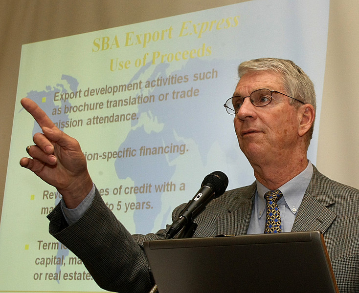 John Blum, Senior Trade Finance Specialist for the SBA, speaks at the Oklahoma World Trade Conference held in Tulsa Wednesday.