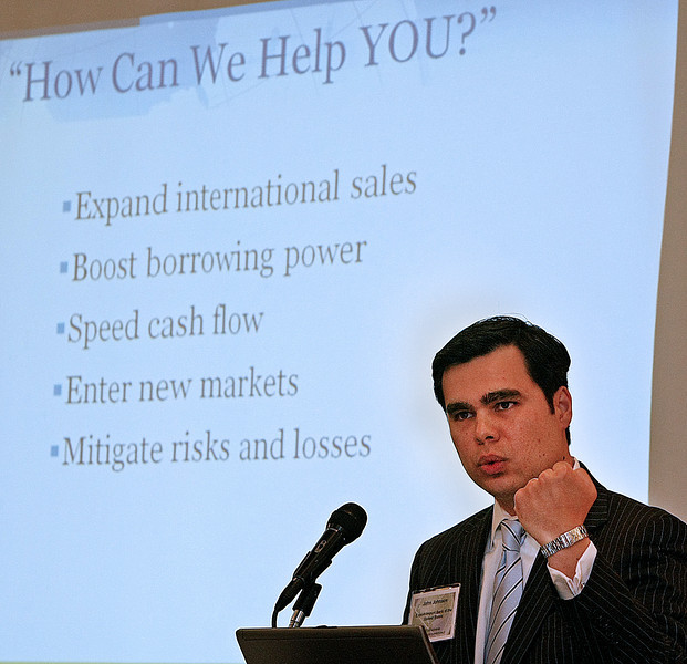 John Johnson, S.W. Business Development Officer Export-Import Bank of the United States gestures as he gives his presentation at the Oklahoma World Trade Conference held in Tulsa Wednesday.