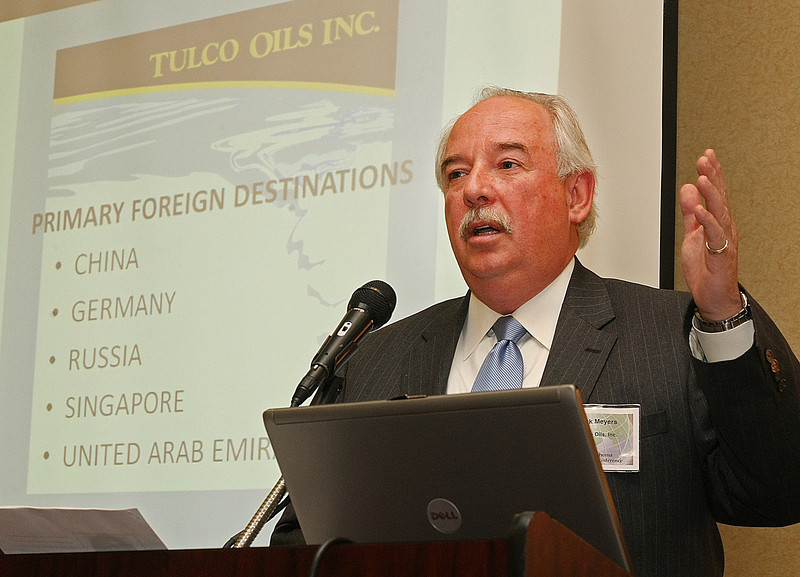 Rick Meyers, Chief Financial Officer of Tulco Oils, speaks at the Oklahoma World Trade Conference held in Tulsa Wednesday.