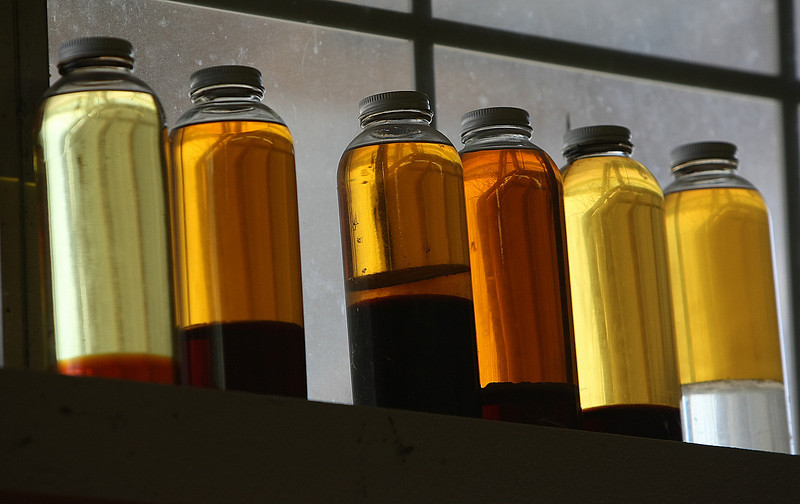 Samples of the various stages of Bio-Diesel made by Tulsa BioFuels from cooking oil.
