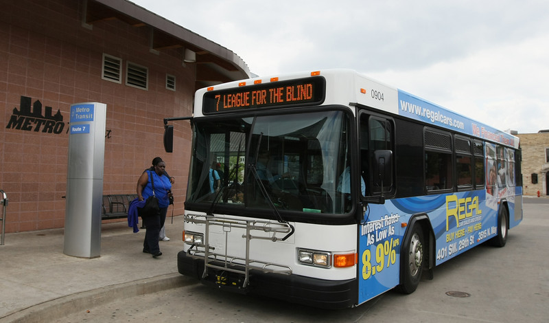 A bus pulls into the downtown Metro Transit bus station Tuesday. PHOTO BY MAIKE SABOLICH
