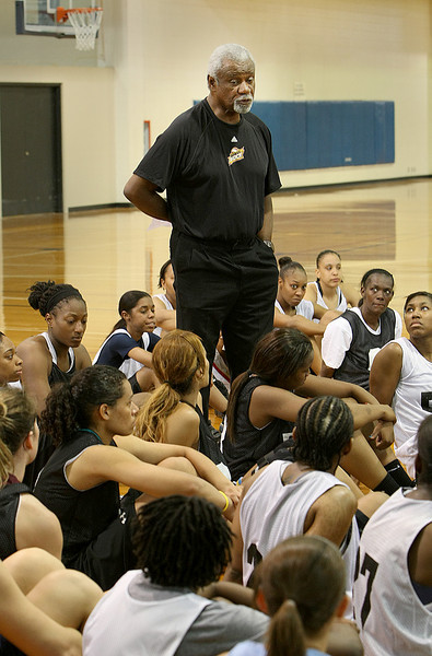 Head Coach of the WNBA Tulsa Shock coaches a little during open tryouts for the team held at Oral Roberts University Wednesday.