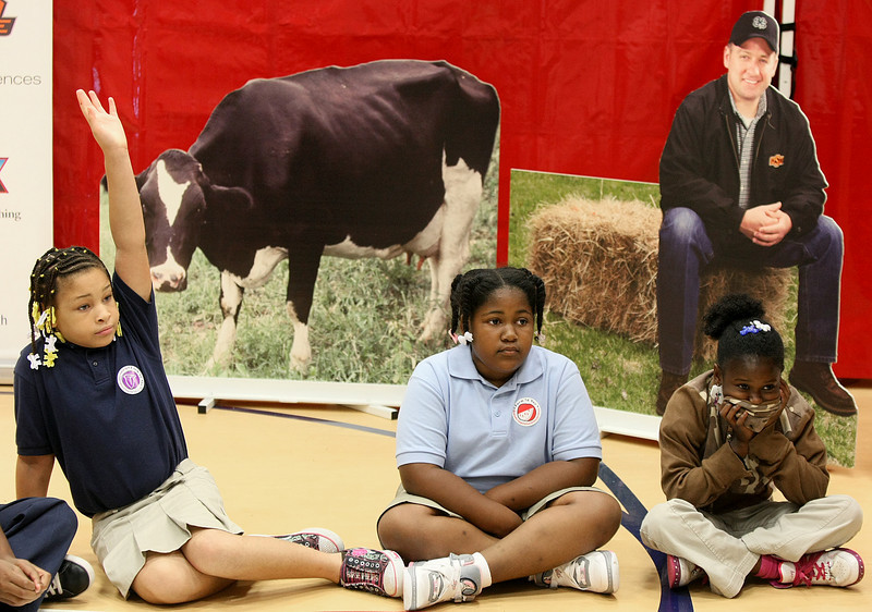 "Kyatra Calton, Lashaye Hamilton and Symira Louis participate in a seesion discussing food production on farms during Friday's ""Farm to You"" event at Stanley Hupfeld Academy at Western Village. PHOTO BY MAIKE SABOLICH"