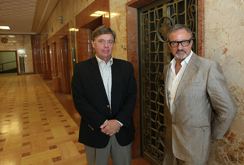 A partner in River City Development Jim Hawkins, and Stephen Meltzer of CB Urban in the main lobby of the 119 Downtown Lofts being constructed in the historic Arco Building and the corner of Fifth and Cincinnati in downtown Tulsa.