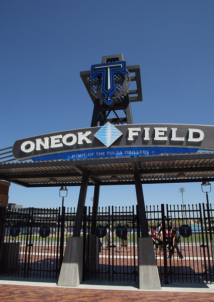 The main entrance to the OneOk Field in Downtown Tulsa.