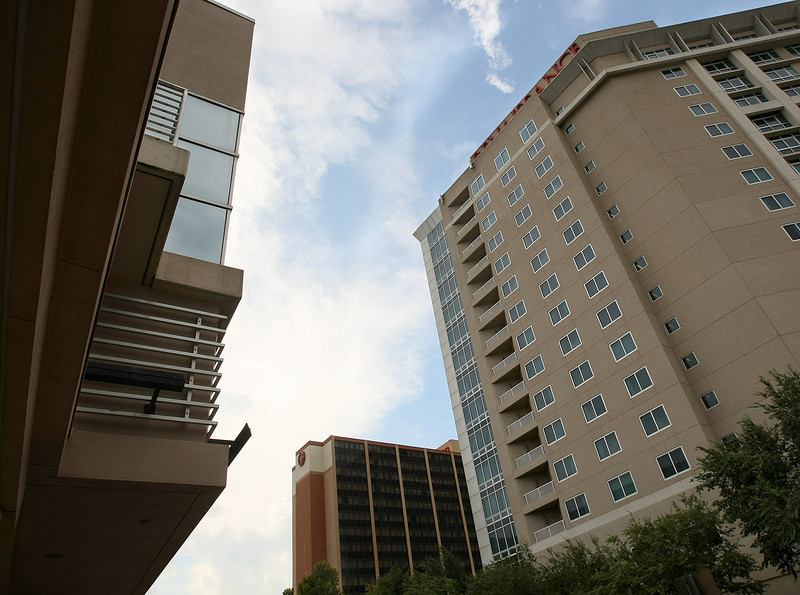 The Sheridan Hotel and the Renaissance Hotel as seen from the Cox Convention Center, left, in downtown Oklahoma City. PHOTO BY MAIKE SABOLICH