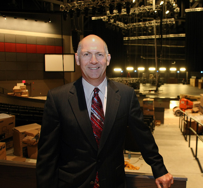 "Cherokee Nation Entertainment Chief Executive David Stewart stands in the middle of the nearly complete 2700 seat entertainment venue ""The Joint"" at the hard Rock Casino in Catossa."