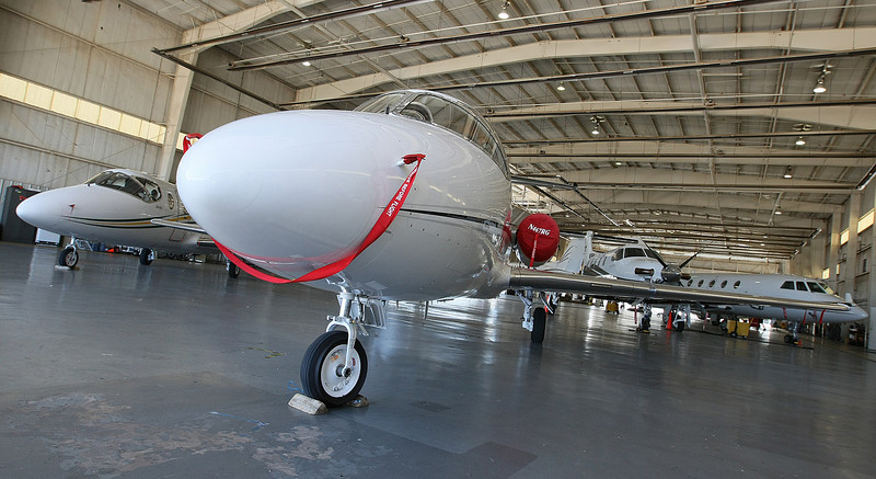 Airplanes in the Atlantic hanger at Wiley Post Airport. PHOTO BY MAIKE SABOLICH