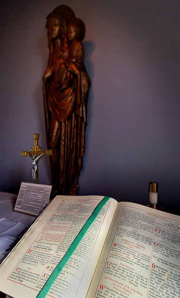 The bible rests on a side altar at the All Saints Anglican Church in South Tulsa.