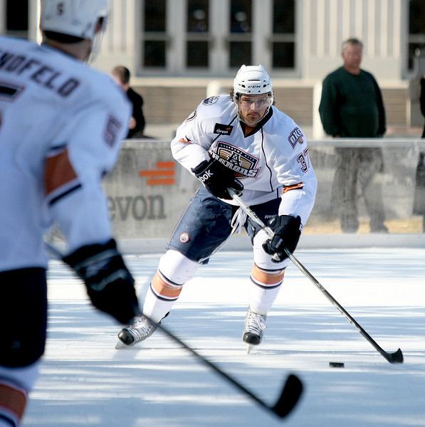 The Oklahoma City Barons practice at the Devon Outdoor Rink at Civic Center Park Wednesday. PHOTO BY MAIKE SABOLICH
