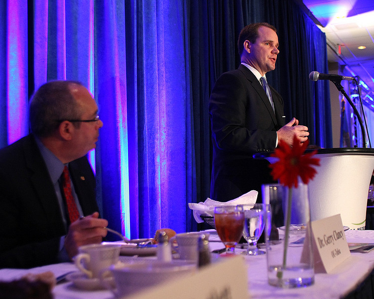 Lieutenant Governor Elect Todd Lamb gives his presentation of Governor Mary Fallin's legislative agenda at the Tulsa Chamber of Commerce State of the State Luncheon Wednesday.