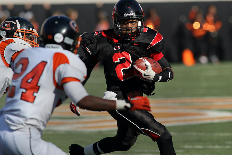 East Central running back turns the corner during the 5A Championships held in Stillwater this past Saturday.  East Central lost the contest against Booker T. Washington in a 32 – 3 game.