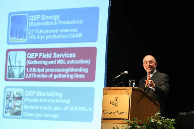 Chuck Stanley, President and CEO of QEP Resources, gives his presentation on the Role of Natural Gas in U.S. Energy Policy at the Friends of Finance Luncheon at the University of Tulsa.