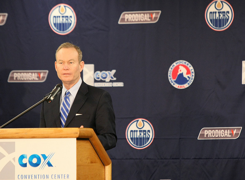 Mayor Mick Cornett announces that Oklahoma City will have its own professional hockey team for the upcoming 2010/2011 season during a press conference at the Cox Convention Center Tuesday. PHOTO BY MAIKE SABOLICH
