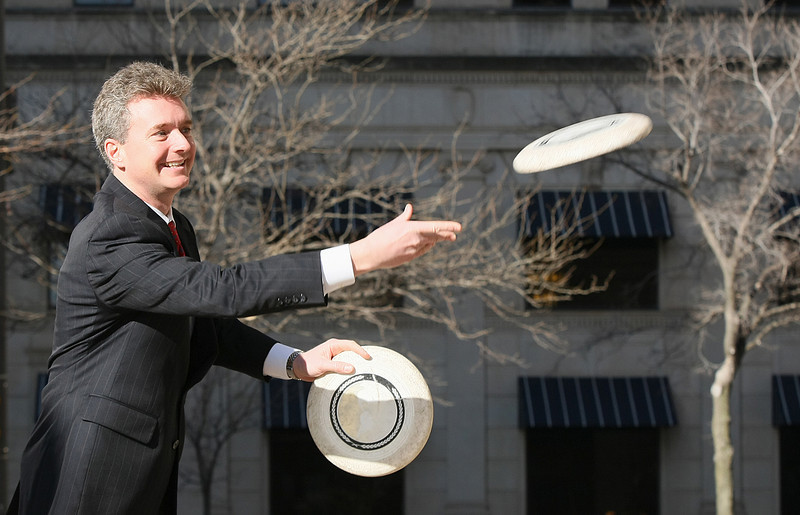 Jeremy Tubb, an attorney at Crowe & Dunlevy in Oklahoma City, broke the two-person marathon Frisbee-tossing record together with college buddy from New Jersey, John Fischer, 22 years ago when the two threw the frisbee for 118 hours and 36 minutes. PHOTO BY MAIKE SABOLICH