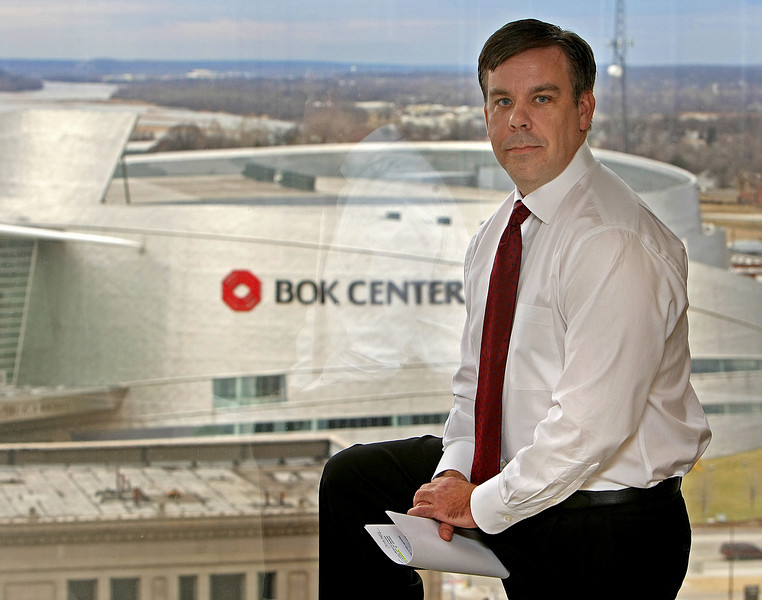 Steve Swetoha, President of the Tulsa Shock, in his office overlooking the BOK Center where the team will play stating in May.