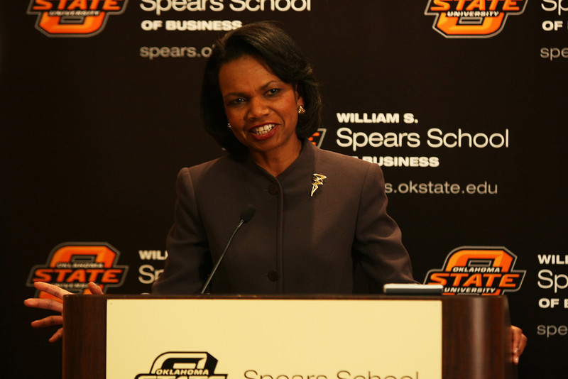 Former United States Secretary of State Condoleeza Rice speaks in Oklahoma City Wednesday afternoon.