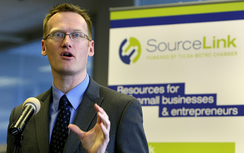 Jeremy Hegle, Network Integrator of SourceLink speaks at a press conference at the Tulsa Metro Chamber of Commerce to announce the availability of the new tool to help small businesses.